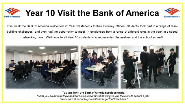 Year 10 visit bank of america