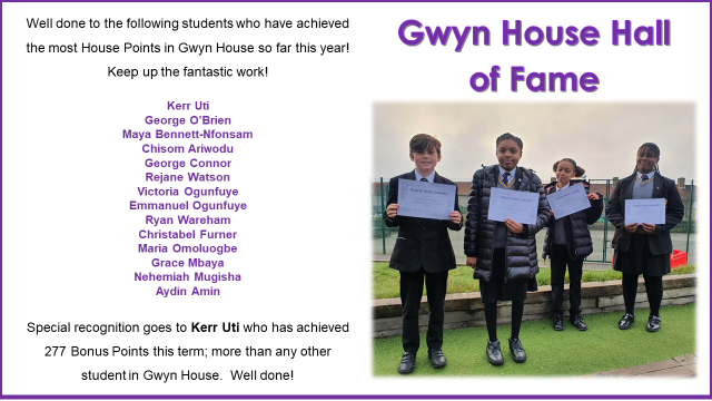 Gwyn House Hall of Fame