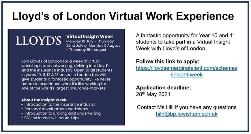 Llyoyds Virtual Work Experience