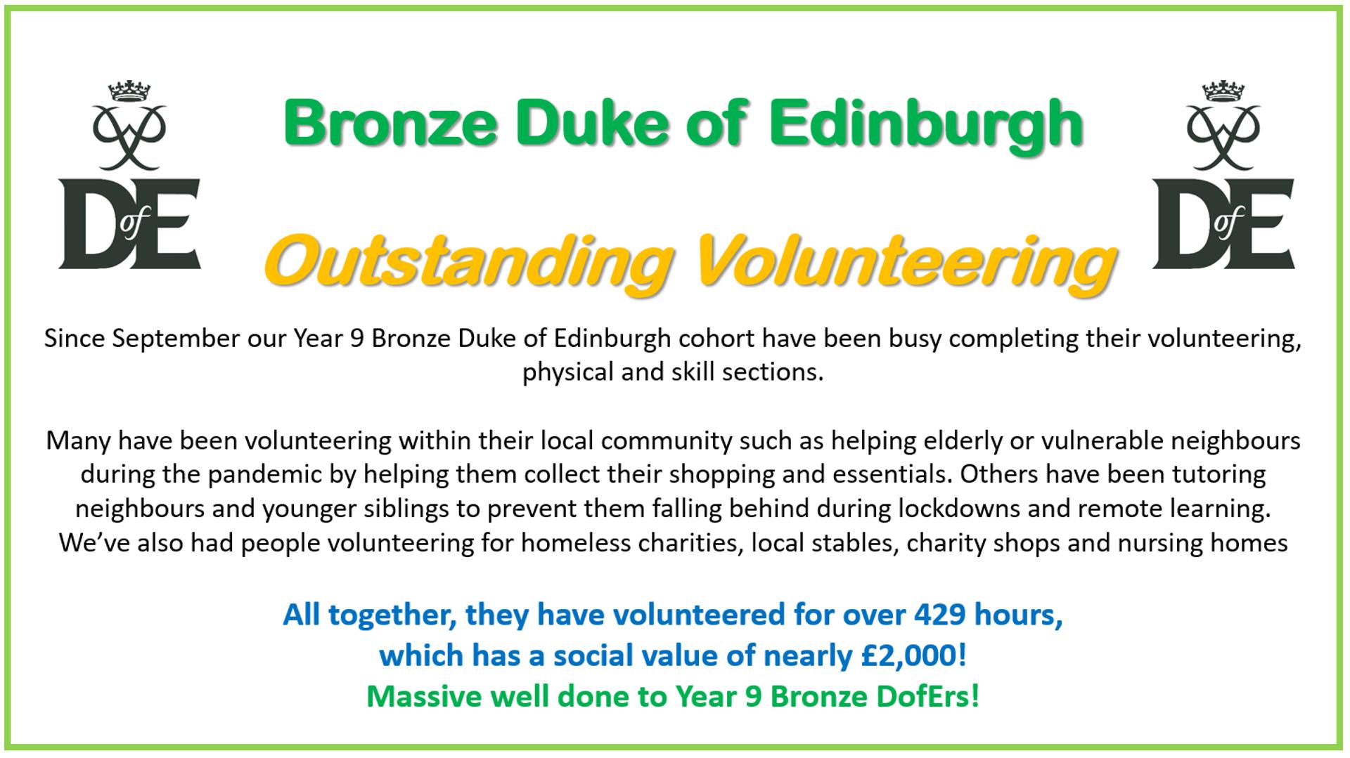 Bronze DofE Volunteering Hours