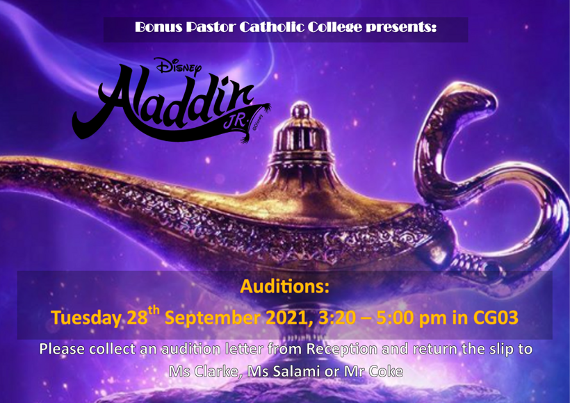 Aladdin audition poster